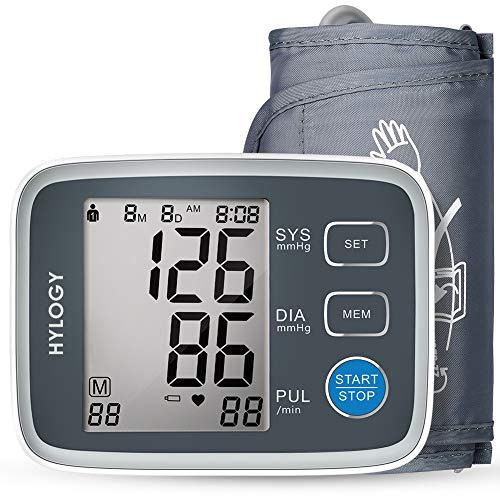 Blood Pressure Monitor, HYLOGY Upper Arm BP Monitor Cuff 8.7 to 12.6 Inch, Large Screen Display and 2 Users Mode 2 * 90 Memory Storage Automatic