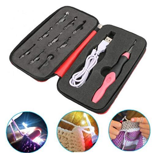 CULER Beleuchtetes Häkelnadel LED Helligkeit einstellbar Stricknadel Sewing Craft-Werkzeug-Satz für Haupt DIY Weave Garn (rot)