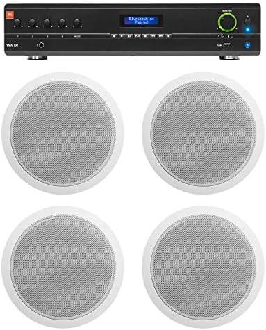 JBL Commercial 70v Amp 4 White 6 Ceiling Speakers For Restaurant Bar Cafe product image