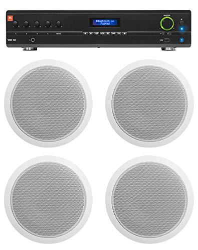 JBL Commercial 70v Amp+(4) White 6' Ceiling Speakers For Restaurant/Bar/Cafe