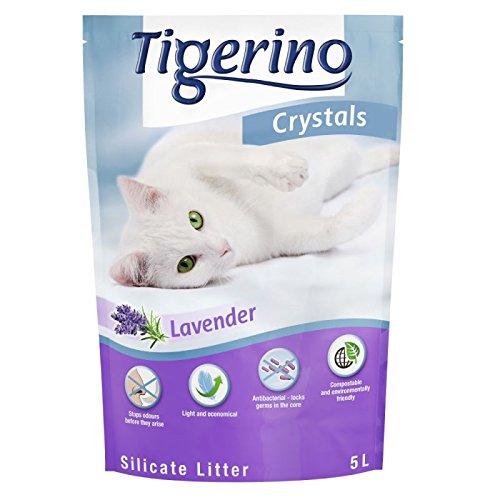 tigerino 6 x 5 Litri Lettiera in silicio Crystals Adesso profumata alla Lavanda! Elimina Rapidamente Gli odori, ha Alto Potere Assorbente e Ottima resa. Ecologica!