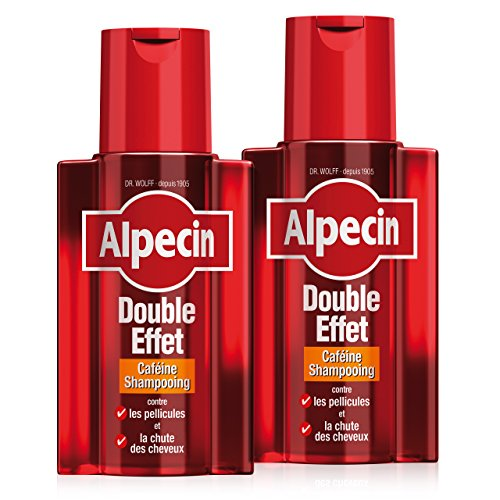 Alpecin Double Effet 2 x 200 ml Shampoing homme antipelliculaire | Shampoing anti chute de cheveux homme | Shampoing cheveux gras | Cheveux traitement calvitie