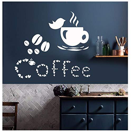 Mingkk - Adhesivo decorativo para pared, diseño de taza de café o cocina, 57 x 64 cm