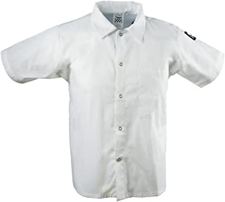 Chef Revival CS006WH 24/7 Poly Cotton Blend Short Sleeve Unisex Cook Shirt with Snap Closure Bottons, Large, White