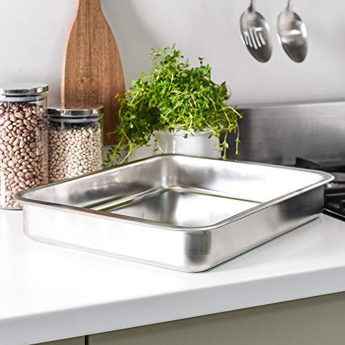 ProCook Edelstahl Brat- und Auflaufform - 43cm - große Ofenform - für Fleisch und Gemüse - Spülmaschinenfest - Bratenform