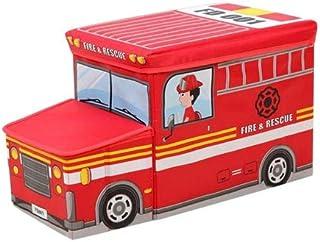 لعبة صندوق ومقعد تخزين على شكل سيارة قابلة للطي للاطفال - احمر