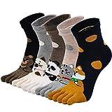 PUTUO Calcetines de Dedos Mujer Calcetines Cinco Dedos de Deporte, Mujer Calcetines del Dedo del Pie, Calcetines de Algodón Mujer Calcetines Divertidos Térmicos Animales