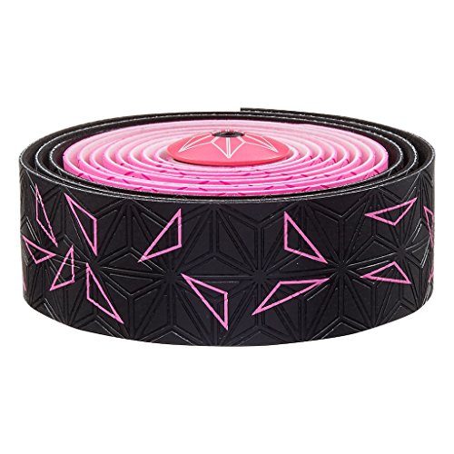 Supacaz Super Sticky Kush Star Fade Bar Tape, Neon Gelb, Neon Pink Star Fade with Neon Pink Plugs