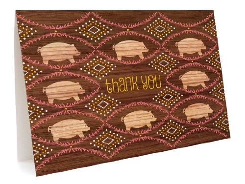 Cartões de agradecimento Piggies, pacote com 6 da Night Owl Paper Goods
