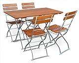 EuroLiving Biergartengarnitur 1x Tisch 120x70 cm & 4X Stuhl Edition-Classic Ocker/verzinkt