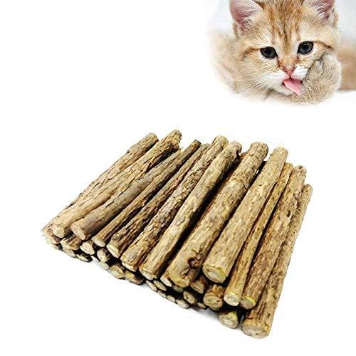 Palitos de Catnip para Gatos, Matatabi Sticks Catnip, Cat Chew Stick, Catnip Toy, Palitos De Hierba Gatera De Matatabi para Gatos Natural Cuidado Dental Chew (Brown)