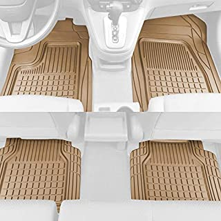 Solid Pro Rubber Car Floor Mats - Performance Plus Heavy Duty Liners for Auto SUV Truck Car Van - 4-Piece Set - Thick, Odo...