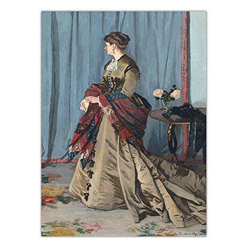 Woonkamer muurschildering olieverf woondecoratie kunst abstracte kunst schilderij tentoonstelling werken Franse Claude Monet Vrouwen onder de paraplu (30x40cm Geen Frame)