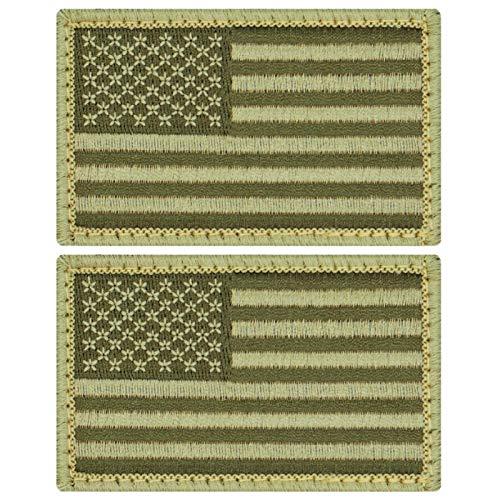 Café Viereck ® Amerika USA Flaggen Patch Gestickt mit Klett - 8 cm x 5 cm (2 x Oliv grün tarn)