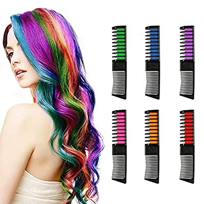 JinZeFa 6 Color Temporary Hair Chalk Comb for Girls Gifts, Kids Disposable Bright Hair Chalk Comb Hair Dye for Birthday Halloween Cosplay Party DIY