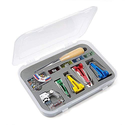 Diealles Shine Vordas Stoff Bias Tape Maker Werkzeug Nähen Quilting mit Verstellbar Nähfuß, Quilten Ahle, Ball Pins, Nähen Zubehören für Kurzwaren