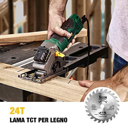 Sega Circolare, TECCPO 580W Sega Circolare Mini con Laser, 3 Lame Ø 85 mm, Profondità di Taglio: 27 mm, Per Legno, Plastica, Metallo Morbido e Piastrelle -TAPS22P (Versione Migliorata)