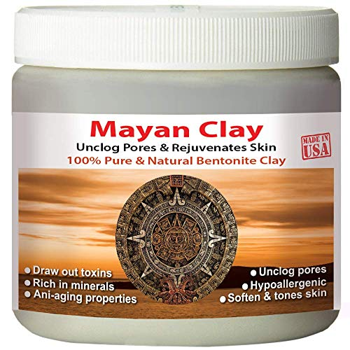 Mayan Pure Indian Healing Clay Powder, Deep Pore Skin Cleansing, Body and Hair Mask, Natural Calcium Bentonite Clay
