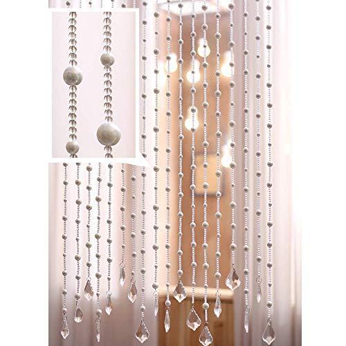 ZXL parelgordijnen voor deur, decoratie, roomdivider, woonkamer, slaapkamer, kast, hangen, snaren, ruimteverdeler (kleur: A, grootte: 40 strengen-120 cm x 100 cm)