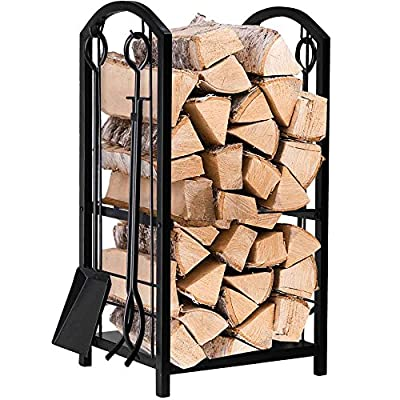 Amagabeli Fireplace Log Rack with 4 Tools Indoor Outdoor Fireside Firewood Holders Lumber Storage Stacking Black Wrought Iron Logs Bin Holder for Fireplace Tool