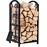 Fireplace Log Rack with 4 Tools Indoor Outdoor Fireside Firewood Holders Lumber...