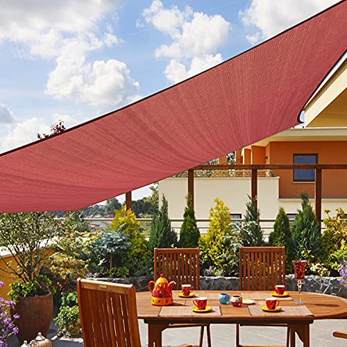 Amahut Sun Shade Sail Rectangle Deck Awning Canopy for Patio Shade Cloth for Lawn Garden Backyard 12'x12' Rust Red
