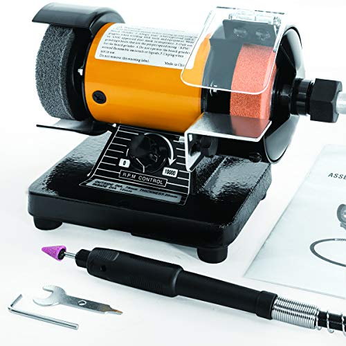 "Stark 3"" Mini Bench Grinder & Polisher with Flexible Shaft Plus Accessories Variable Speed 0-10000 RPM"