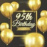 95th Birthday Guest Book: Golden Balloons Black Background Theme Elegant Glossy...