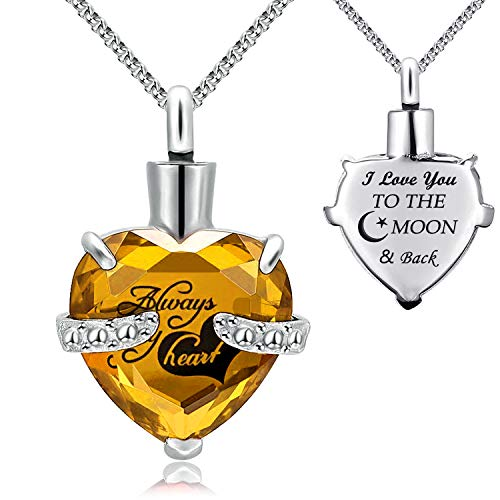 YOUFENG Jewellery Urn Necklace for Ashes Always in My Heart I Love You to The Moon and Back Birthstone Cremation Keepsake Pendant Necklaces (November)