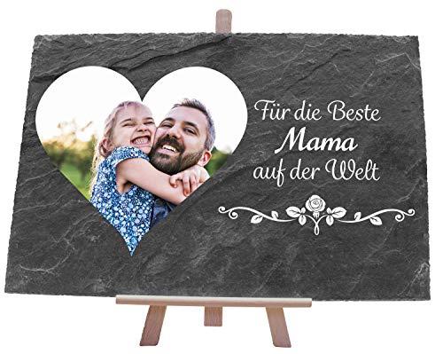wandmotiv24 Schiefertafel mit Beste Mama und Foto Herz, 30x20 cm (BxH), Geburtstagsgeschenk, Geburtstag, Muttertag, Valentinstag M0062