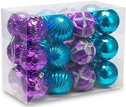"AUXO-FUN 2.36""/60mm shatterproof Christmas Ball Ornaments Tree Decoration Baubles Set of 24 Counts (Purple & Blue)"