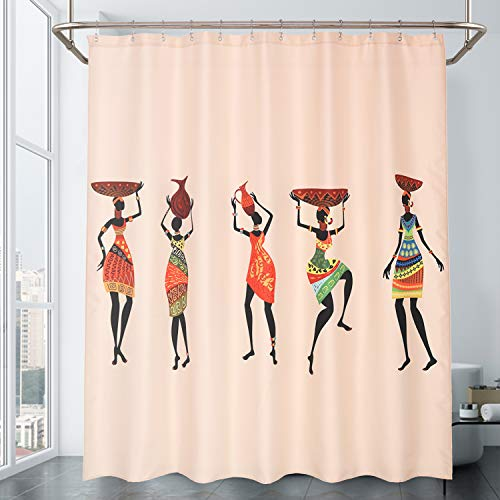 Mrs Awesome African Women Printed Shower Curtain, Water Repellent Bathroom Shower Liner, 69 x 72 inches, Multi-Colored