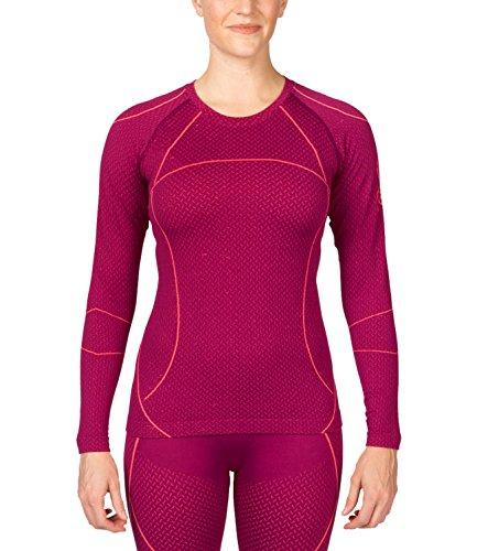 Spyder Damen Unterhemd langarm Skiunterwäsche Funktionsshirt Olympian (Boxed) Baselayer 156526, Farbe:Rot;Artikel:-673 wild / bryte pink;Größe:XL / XXL