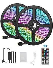 Ruban LED 10M Bande LED 300 LEDs 5050 RGB IP65, Kit Bande LED Lumineuse Multicolore Peut-Découpé Néon Decor Rubans lumières LED décoratives 44Télécommande12V 5A