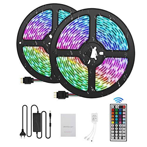Tiras LED 10M 5050 RGB Tiras de Luces LED Iluminación con 300, Adaptador de Alimentación 5A Impermeable IP65, Control Remoto de 44 Claves LED Kit Completo