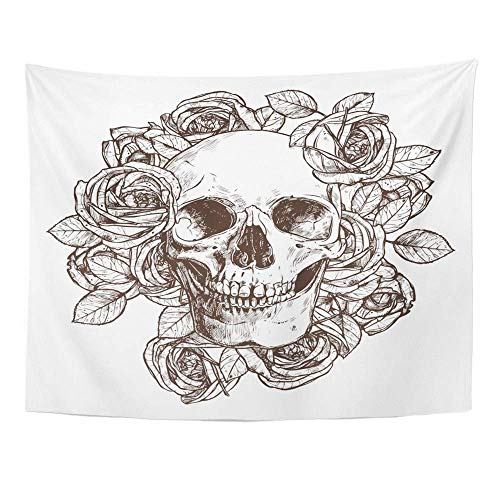 "Tapices decorativos Tapestry Wall Hanging Tattoo Skull and Roses Hand Drawn Flower Floral Rock Roll Mexican Ornate 60"" x 80"" Home Decor Art Tapestries for Bedroom Living Room Dorm Apartment"