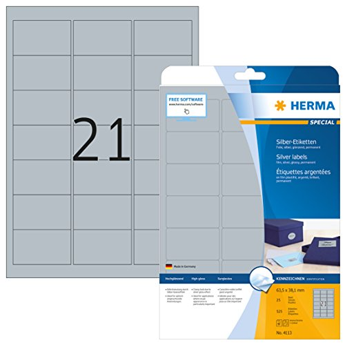 HERMA 4113 Wetterfeste Folien-Etiketten DIN A4 silber (63,5 x 38,1 mm, 25 Blatt, Polyesterfolie, glänzend) selbstklebend, bedruckbar, permanent haftende Etiketten Aufkleber, 525 Klebeetiketten