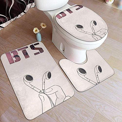 Harla Flannel Bathroom Mats Listen to B_T_S 3 Piece Bathroom Rug Set, Anti-Skid Pads Bath Mat + Contour + Toilet Lid Cover