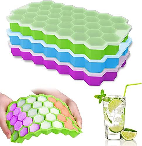 Ice Cube Trays,Miruchertter Ice Cube Trays for Freezer with Lids,3 Packs of 111 Silicone Ice Cube Moulds, Easy-Release Small Ice Cube Trays,Reusable Ice molds for Ice Drinks, Whiskey,Cocktails