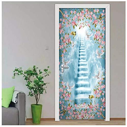 Waterdichte zelfklevende 3D-deursticker, wolk, ladder, bloemen en vogels behang, voor de woonkamer, deur, decoratie, wandsticker, plakfolie