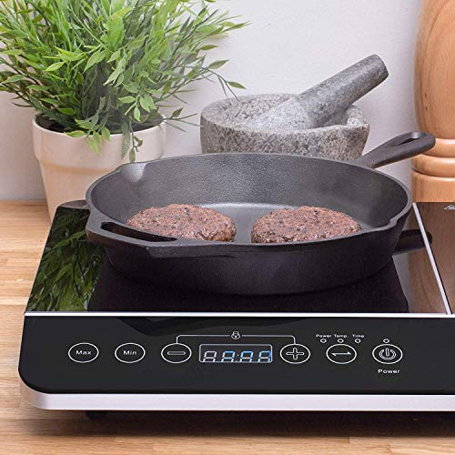 Andrew James Double Induction Hob | Portable 13amp Electric Cooker with Independent Hot Plate Controls | Touch Sensitive Controls Timer & Auto Switch Off
