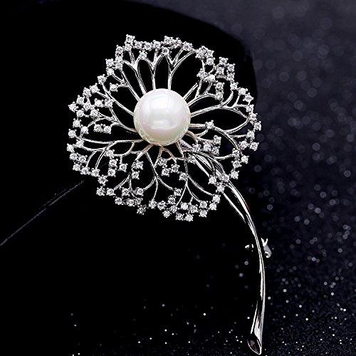 Elegantes Accesorios de Moda Moda Brillante Jaramago Perla Hermoso Broche de Espaldas pasadores Moda Creativa Chica Flor