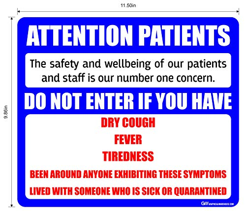 """""""Attention Patients"""" Do Not Enter with COVID-19 (Coronavirus) Symptoms, Adhesive Durable Vinyl Decal- Sign by Graphical Warehouse- Various Sizes and Colors Available (11.5x9.86', Blue)"""
