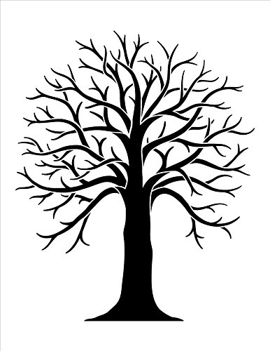 Tree Stencil with Branches by StudioR12 | DIY Rustic Country Home Decor | Farmhouse Nature Background Multimedia Template | Craft & Paint Wood Signs | Reusable Mylar | Select Size (8.5 x 11 inch)