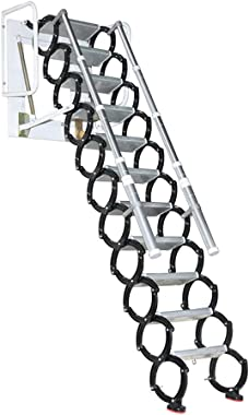 Aluminum Alloy Household Retractable Ladder for Loft Home Folding Step Ladder Attic pulldown Ladder Hinge (Vertical Height 3.2 m)
