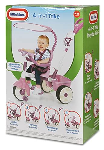 Little Tikes Tricycle 4-en-1 Edition Basique- Tricycle à Trois Roues pour Tout-petits - Ages de 9 Mois à 3 Ans - Jeu Actif Toute la Journée - Rose