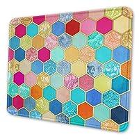 宝石の色のパターン化されたハニカムパッチワークマウスパッドマルチコードアンチスキッドラバーゲームマウスパッドはコンピュータノートブックに適しています