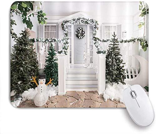 Rechteckiges Mauspad, Weihnachtshaus Veranda Dekor Haustür Kranz Girlande Weihnachtsbaum, Tischmatte, Gaming Office Dekor, 9,5 x 7,9 Zoll