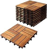 プロテック ウッドデッキ アカシア 無垢材 ジョイント パネル 10枚セット (APNJWD-3012NS) ウッドタイル