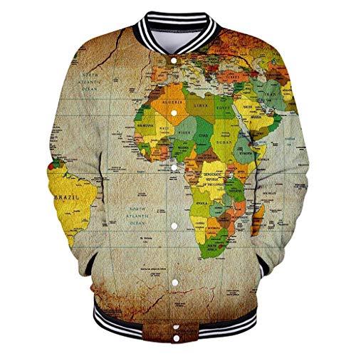 LIMITA Paar 3D-Druck Langarm-Strickjacke Rundkragen Tops Jacke Jacke mit Weltkartendruck Paares schlanke Baseballuniform